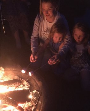 Toasting Marshmallows, Gabriels Farm Camping and Carvanning Site in Kent